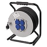 EMOS Profi Kabeltrommel mit verstärktem Kabel, IP44 für Außenbereich, 50 m mit 4 Steckdosen mit Klappdeckeln, 2,5 mm Schuko für Garten, Werkstatt