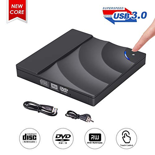 Externes DVD Laufwerk,ShangQia USB 3.0 DVD-RW DVD/CD Brenner mit Berührungssensor Laptops/Desktop/PC unter Windows und Mac OS für Apple MacBook/MacBook Pro/MacbookAir/Mac