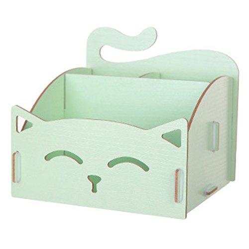 Aufbewahrungsbox aus Holz, in Katzenform mit Aussparungen, für Büro, Schmuck, Schreibtisch,...