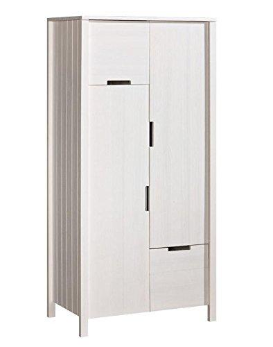 Landhaus-Stil Kiefer-Kleiderschrank massiv Weiß 187x89x55 cm