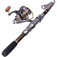 Las cañas de pescar profesionales y los carretes fijan la caña de pescar telescópica con los kits del carrete combinados