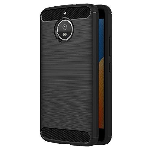 AICEK Moto E4 Plus Hülle, Schwarz Silikon Handyhülle für Motorola Moto E4 Plus Schutzhülle Karbon Optik Soft Case (5,5 Zoll)