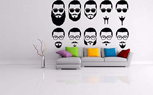 zzlfn3lv Brille Schnurrbart Sonnenbrille Stil Salon Schild Friseur Haar Logo Bart Vinyl Wandkunst Aufkleber Home Room 42 * 67 cm