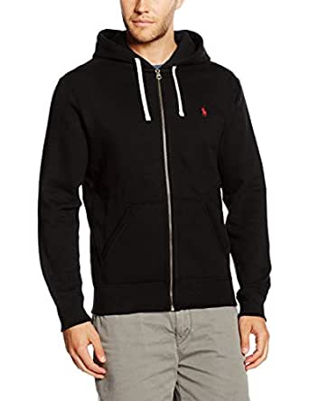 Polo Ralph Lauren LS FZ Hood Pkt Ppc, Sweat-Shirt àCapuche Homme, Noir-Schwarz (Polo Black A00PB), m