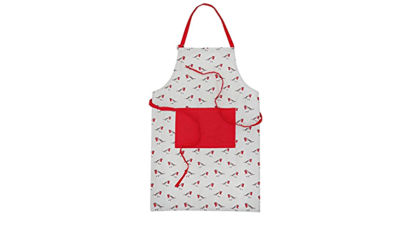 APRON PRINTED RED HOME WITH POCKET HOME