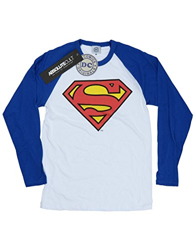 DC Comics Donna Superman Logo Camicia a maniche lunghe da baseball X-Large Bianco / Royal Blue