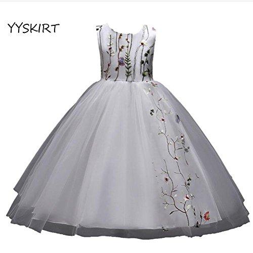 Y&DRESS Wedding Princess Dress Kinder Mädchen Vintage bestickt Blumen Hochzeit Prinzessin Kleid 4-15 Jahre alt Maxi Tutu Tüll formale Abendkleid, white, 130cm (Kleider Junior Formale)