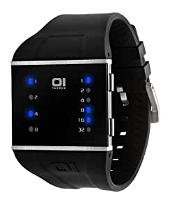 The One - SLS102B3 - Slim Square - Montre Mixte - Quartz Led Bleu - Bracelet Polyuréthane Noir