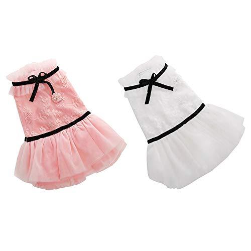 Sen-Sen Hündchen Kleidung Sommerkleid Dünnschliff süße Prinzessin Kleid Kleid Rosa M - Pink (M) -