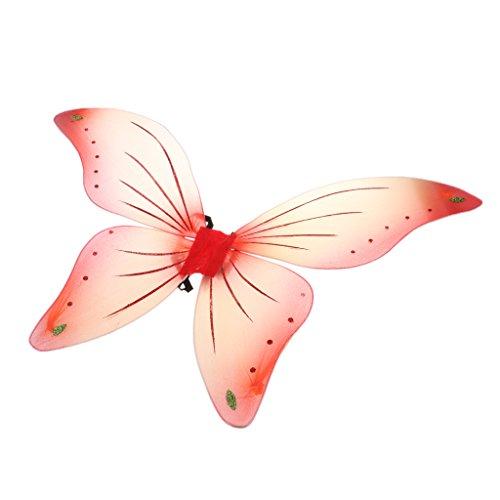 metterling Flügel - Feen Kostüm Kinder - Rot (Rot Schmetterling Kostüm)