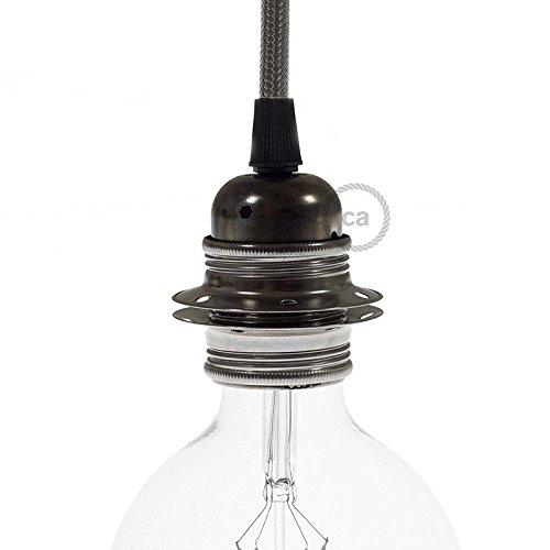 Douille en métal perle noire, culot ampoule E27, 2 bagues