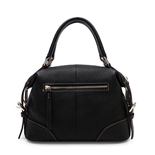 Beiläufig Weiches Leder Hobo Satchel Handtasche, Arbeitstragetasche für Frauen Schwarz