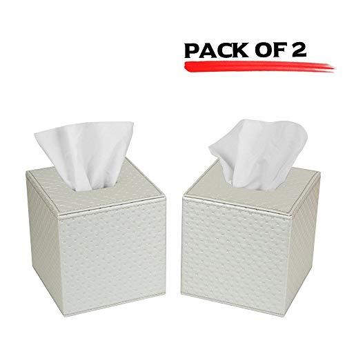 JackCubeDesign Quadratischer Tissue Box Cover Halter Tasche Kleenex Cover Halter Box Serviettenhalter Organizer Ständer (2er Set, Silber, 13,7 x 13,7 x 14,2 cm) -: MK272CC