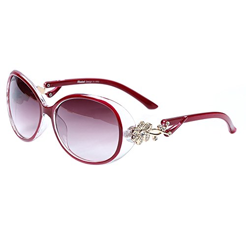 LianSan Oval Fashion Damen Gold Blume Marke Designed Lady Sonnenbrille GD103 (rot)