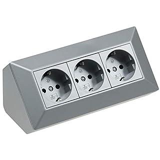 3-fach Tisch Eck Steckdose 230V 45° Winkel Vorverdrahtet für Küche und Werkstatt Silber