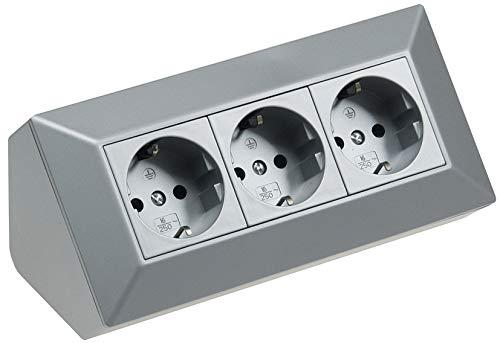 3-fach Tisch Eck Steckdose 230V 45° Winkel Vorverdrahtet für Küche und Werkstatt Silber -