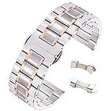 14 millimetri di fantasia orologio intelligente catenaccio dell'acciaio inossidabile braccialetto metal band deployante due toni d'argento & oro rosa