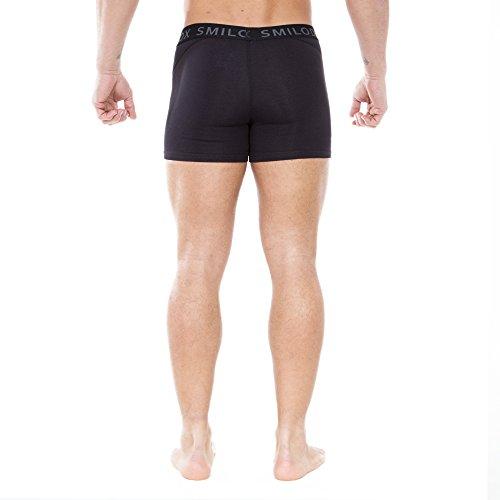 SMILODOX Boxershorts für Herren | Unterwäsche mit perfektem Tragekomfort in Slim Fit | Unterhose für Sport, Alltag, Freizeit & Fitness | 93% Baumwolle Black