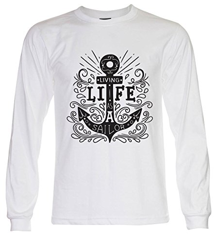 PALLAS Unisex's Anchor Vintage Funny T Shirt White Long Sleeve