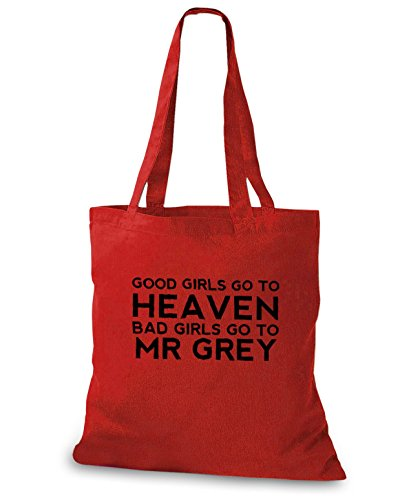 StyloBags Jutebeutel/Tasche Good Girls go to heaven Bad Girls go to Mr Grey, Farbe:rot