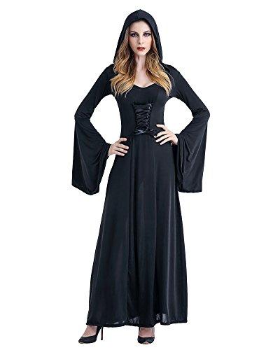 Kleid Mit Kapuze Damen Kostüm Halloween Fasching Karneval Hexe Vampir Lady Mittelalter ZauberinSchwarz (Mittelalter Halloween Kostüme)