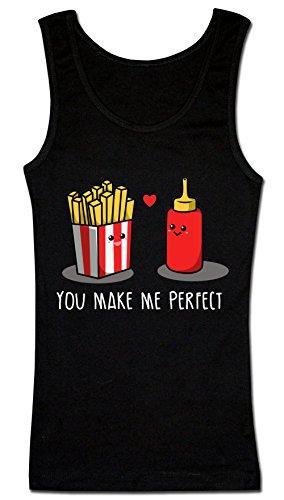 You Make Me Perfect French Fries And Ketchup Women's Tank Top Shirt Medium (Perfect Print Tank)