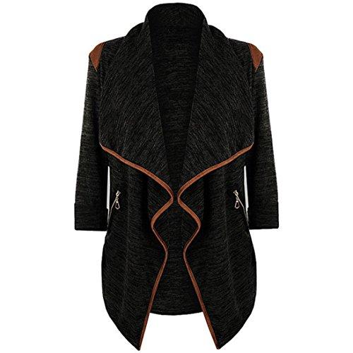 Hansee Neue Frauen Strickjacke Pullover Open Front Casual Langarmshirts Strickjacke Jacke Outwear Plus Größe (L, Schwarz) (Weste Hippie Männliche)