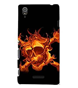 For Sony Xperia T3 fire skull ( ) Printed Designer Back Case Cover By CHAPLOOS