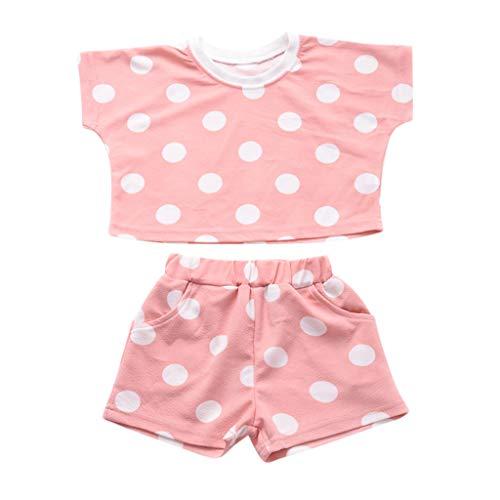 LILICAT Kleinkind Baby Mädchen Dot Gedruckt Bluse Polo Shirt Top Baumwoll Kurzarm T-Shirt +Shorts 2tlg -