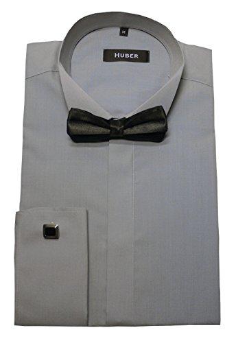 Smoking Hemd grau mit Fliege schwarz Umschlag-Manschetten HUBER 1024 bequeme Passform S bis 4XL Grau