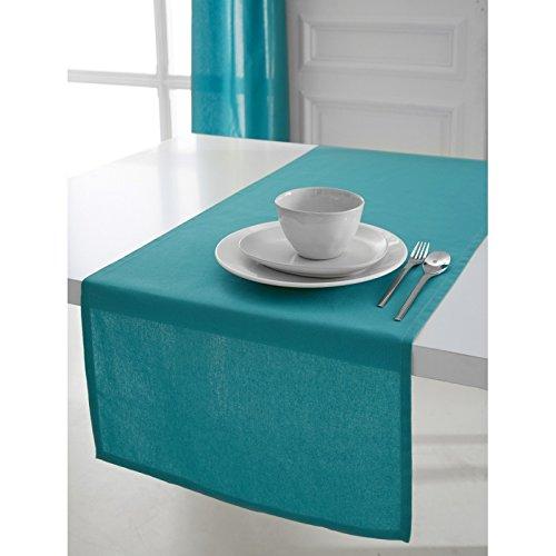 Chemin de table - 50x150 cm - 100% coton - Turquoise (disponible en 12 différents coloris)