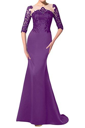 TOSKANA BRAUT Halbarm Damen Stilvoll Satin Spitze Abendkleider Lang Prom Fest Party Ballkleider Violett46