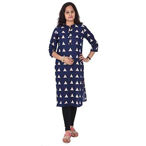 AnjuShree Choice Women's Stitched Printed Cotton Anarkali Kurti (Medium, Blue Print)