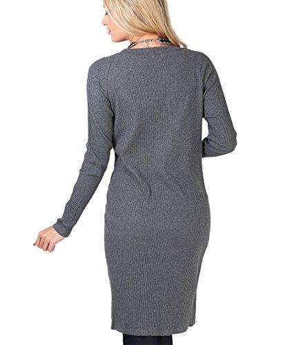 KRISP® Damen Langer Cardigan Mantel Feinripp Jacke Grau (9290)