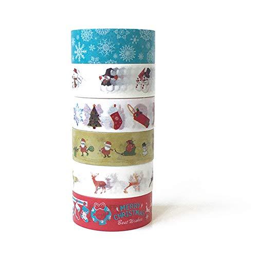 6 Rolls Weihnachten Washi Klebeband Set, Merry Christmas Masking Tape Collections Art Craft Pack-Geschenk-Geschenk-Verpackung für Weihnachtsdekoration Weihnachts Themed Party-Bevorzugungen Supplies