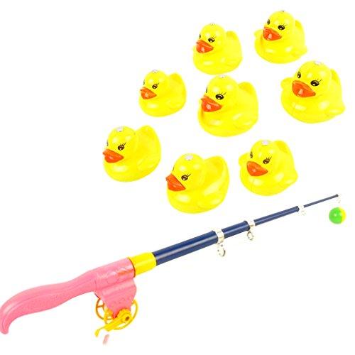 B Blesiya 9- teilig Baby Magnetische Enten Tiermodell mit Verstellbare Angelrute Angelnspiel Wasserspielzeug Pool Spielzeug