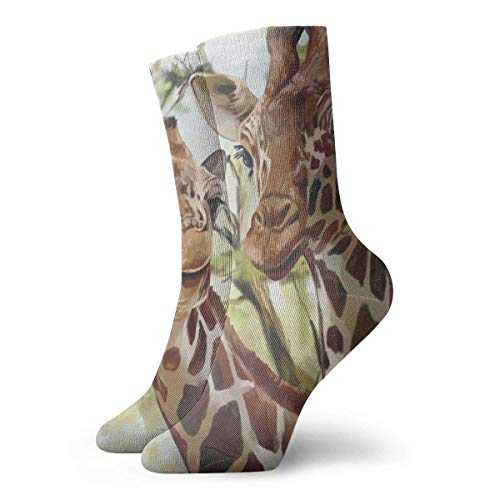 Giraffe Kostüm Womens - VTYOSQ Socks Breathable Watercolor Deer Giraffe Long Crew Sock Exotic Modern Women & Men Printed Sport Athletic Socks 30 cm (11.8 inch)