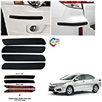 PEYTON Rubber Car Bumper Protector Guard with Plain (Small) for Car 4Pcs - Black (for Honda City ZX)