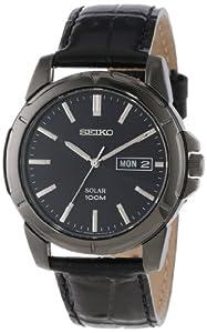 Reloj Seiko SNE097P1 de caballero de cuarzo con correa de acero inoxidable plateada (solar) - sumergible a 100 metros de Seiko
