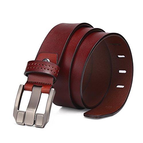 BISON DENIM Herren Echt Leder Gürtel Dornschließe Antik Beiläufige Gürtel Rot-Braun (Large, 115 cm Bundweite = 130cm Gesamtlänge)  (Rot Getrimmt)