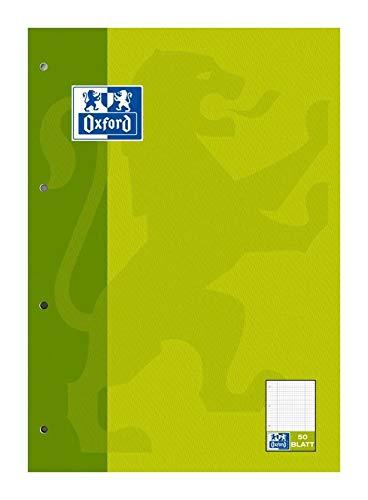 Oxford 100061260 - Block notes scolastico, A4, lineatura, a quadretti/a righe con margine a sinistra e a destra, 50 fogli, carta ottica 90 g/m², confezione da 5 pezzi, colore: Verde chiaro