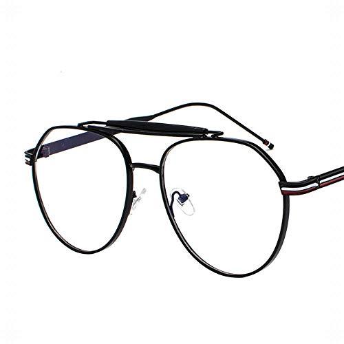 Yiph-Sunglass Sonnenbrillen Mode Large Oval Metal Retro Emaille Brillengestell Flacher Spiegel für Männer und Frauen. (Farbe : Schwarz)