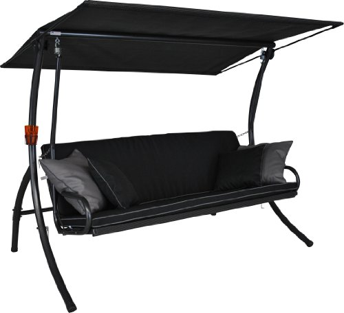 Schwarz 3-sitzer (Angerer 441000/137/21 Elegance Style Hollywoodschaukel Style, Schwarz, 3-Sitzer)