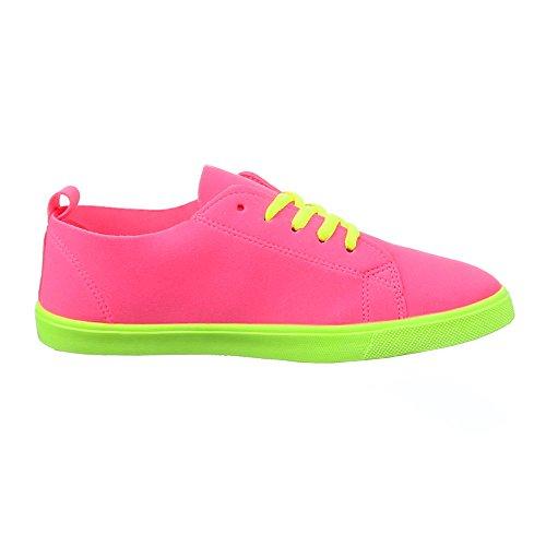 Damen Schuhe, 104-Y, FREIZEITSCHUHE SCHNEAKERS SCHNÜRER Pink