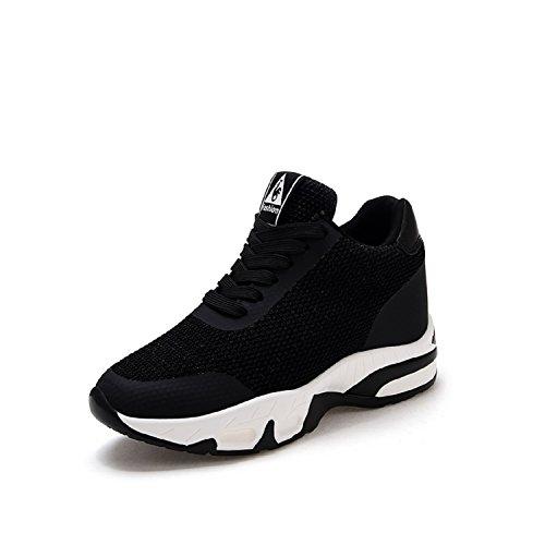 LILY999 Damen Sneakers mit Keilabsatz Turnschuh Wedges Sportschuhe Freizeitschuhe Keilabsatz 8cm (Schwarz,Größe 38)