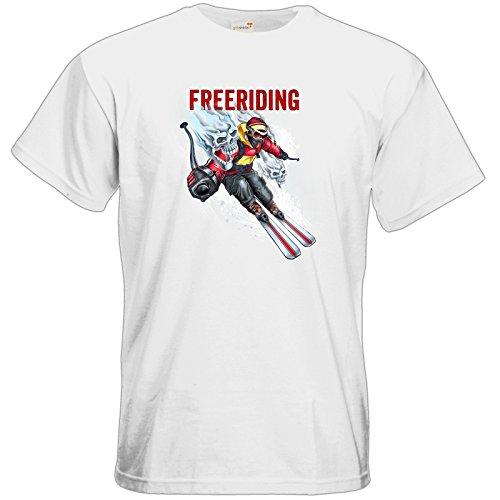getshirts - RAHMENLOS® Geschenke - T-Shirt - Winter Sports Ski Style FREERIDING - white 5XL