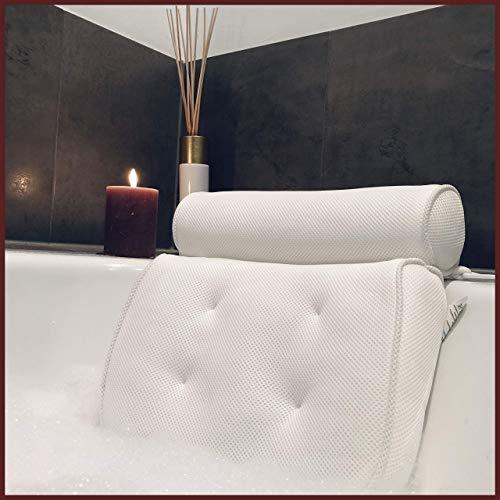 Badewannenkissen Set Ink. Wandhaken & Tragetasche [Testsieger] - Kopfstütze für die Badewanne mit Saugnäpfen - Nackenkissen - SPA Wellness Badezubehör - Geschenk für Sie & Ihn (36 x 34 x 8,5 cm)