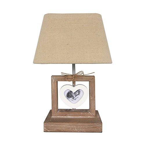 Rebecca Mobili Lampe de Table Lampe de Chevet Lumière Abat-Jour 1 Cadre-Photo Bois Tissu Marron Blanc Style Retro Chambre d'Enfants Max 60 W E27 GLS - 32 x 20,5 x 14,5 cm (H x L x P) - Art. RE6203