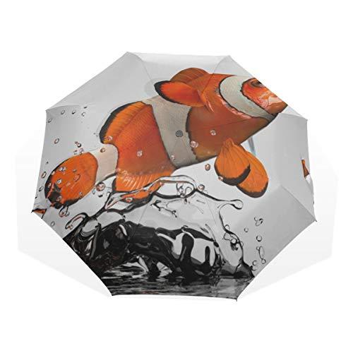 Reiseregenschirm Clownfische springen und drehen in der Luft Anti-UV-Kompakt 3-Fach Kunst Leichte Klappschirme (Außendruck) Winddicht Regen Sonnenschutzschirme Für Frauen Mädchen Kinder -