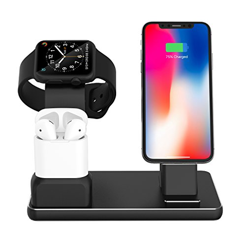 FIREOR Apple Watch Ladestation, Aluminum 4-in-1 Ladedock iPhone Ständer Airpods Dockingstation iWatch Ladegerät Zubehör - Nightstand Mode Kompatibel - für Apple Watch, AirPods, iPhone